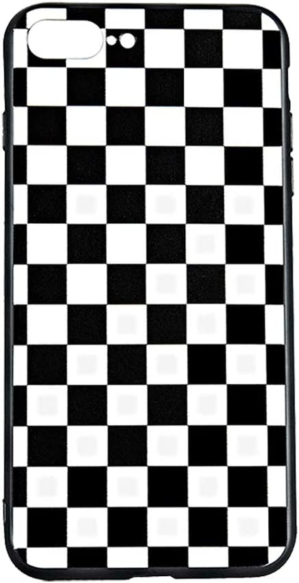 Vanqiang - Carcasa para iPhone (rígida, diseño de cuadros, color marrón, plástico, Negro, blanco, iPhone 6 6s