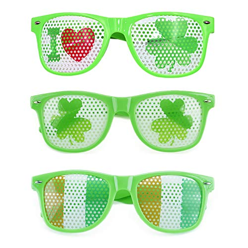 3 PCS St. Patrick's Day Glasses, Giveme5 Irish Shamrock Sunglasses Green Clover Leprechaun Costume Glasses Eye Glasses for Adults and Kids Irish Party Favors