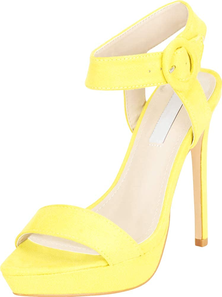 Cambridge Select Womens Open Pointed Toe Single Band Chunky Platform Stiletto Extra High Heel Sandal