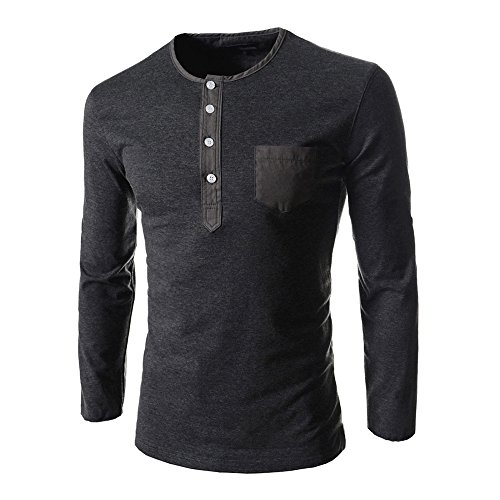 Autumn and Winter New Men's Casual Slim Long-sleeved Shirt (Grey) - 1