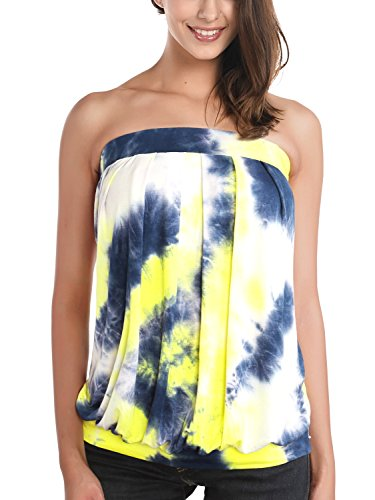 DJT Women's Tie Dye Sleeveless Stretchy Pleated Tube Top X-Large Tie Dye Yellow