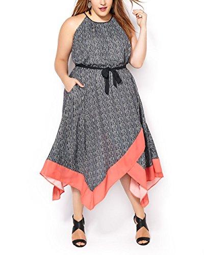 Penningtons Womens Plus Size Sleeveless Georgette Dress Black 2X