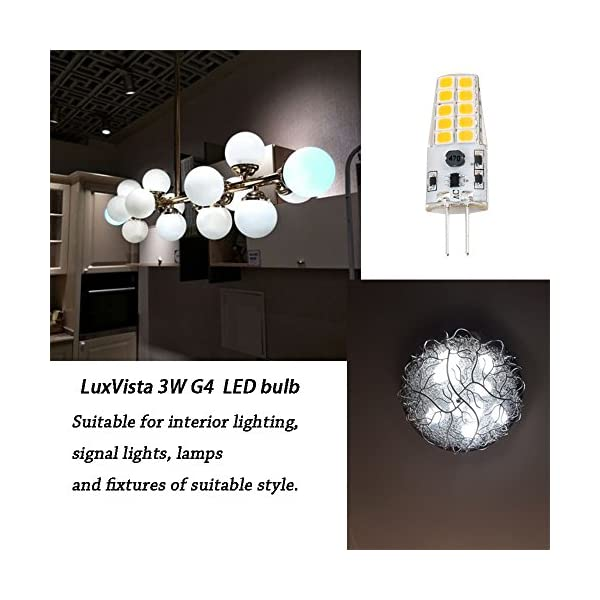 Luxvista 3W G4 LED Light Bulb 2 Pin Capsule Lamp Light Cool White 6000K 12V AC/DC Equivalent 20W-30W Halogen (5-Pack)