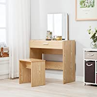 Mecor Vanity Dressing Table and Stool Set Makeup Dresser Desk w/Mirror Drawer,Oak