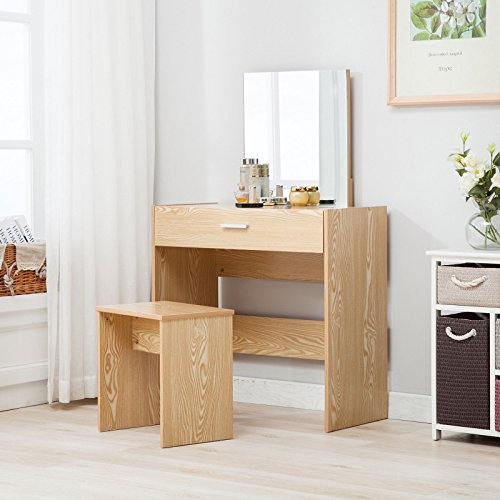Mecor Vanity Makeup Table Set Dressing Table with Stool and Square Mirror,Wood