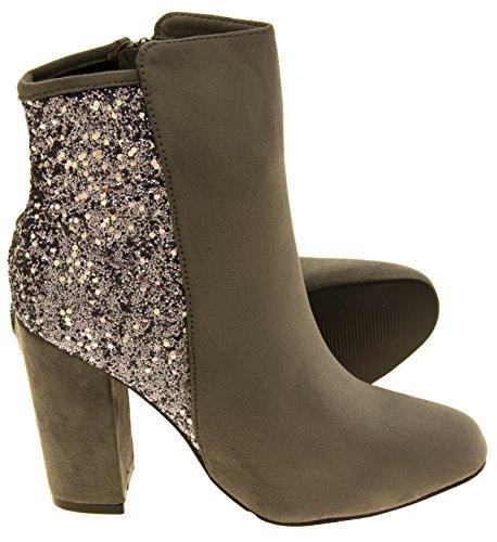 Para mujer Divine Botas de tobillo de brillo Gris