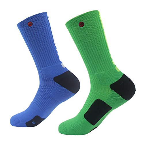 3street Men's Juniors Boys Fashion Style Health Breathable Anti-slip Basketball Compression Crew Socks 2-Pairs Blue Green