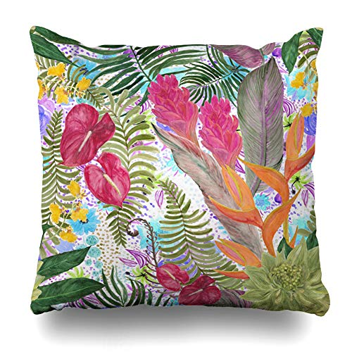 NOWCustom Throw Pillow Cover Forest Bird Atercolor Tropical Pattern Exotic Flowers Lady Deliciosa Garden Hawaiian Hot Design Zippered Pillowcase Square Size 20 x 20 Inches Home Decor Pillow ()