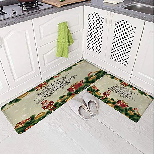 (2 Piece Non-Slip Kitchen Mat Rug Set Doormat 3D Print,Birch Branch Cute Ribbons Bells Candy Canes Art,Bedroom Living Room Coffee Table Household Skin Care Carpet Window Mat,)