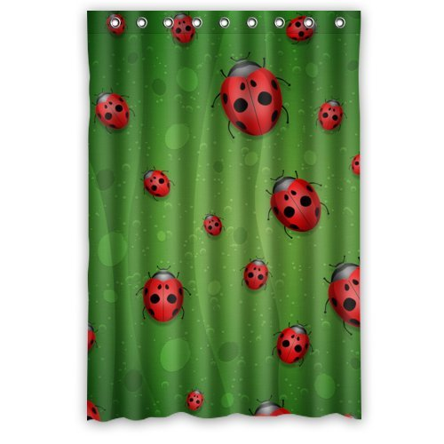 Ladybug In Green Lotus Leaves Decor