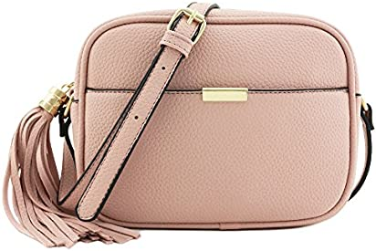 Square Tassel Crossbody Bag Dusty Pink