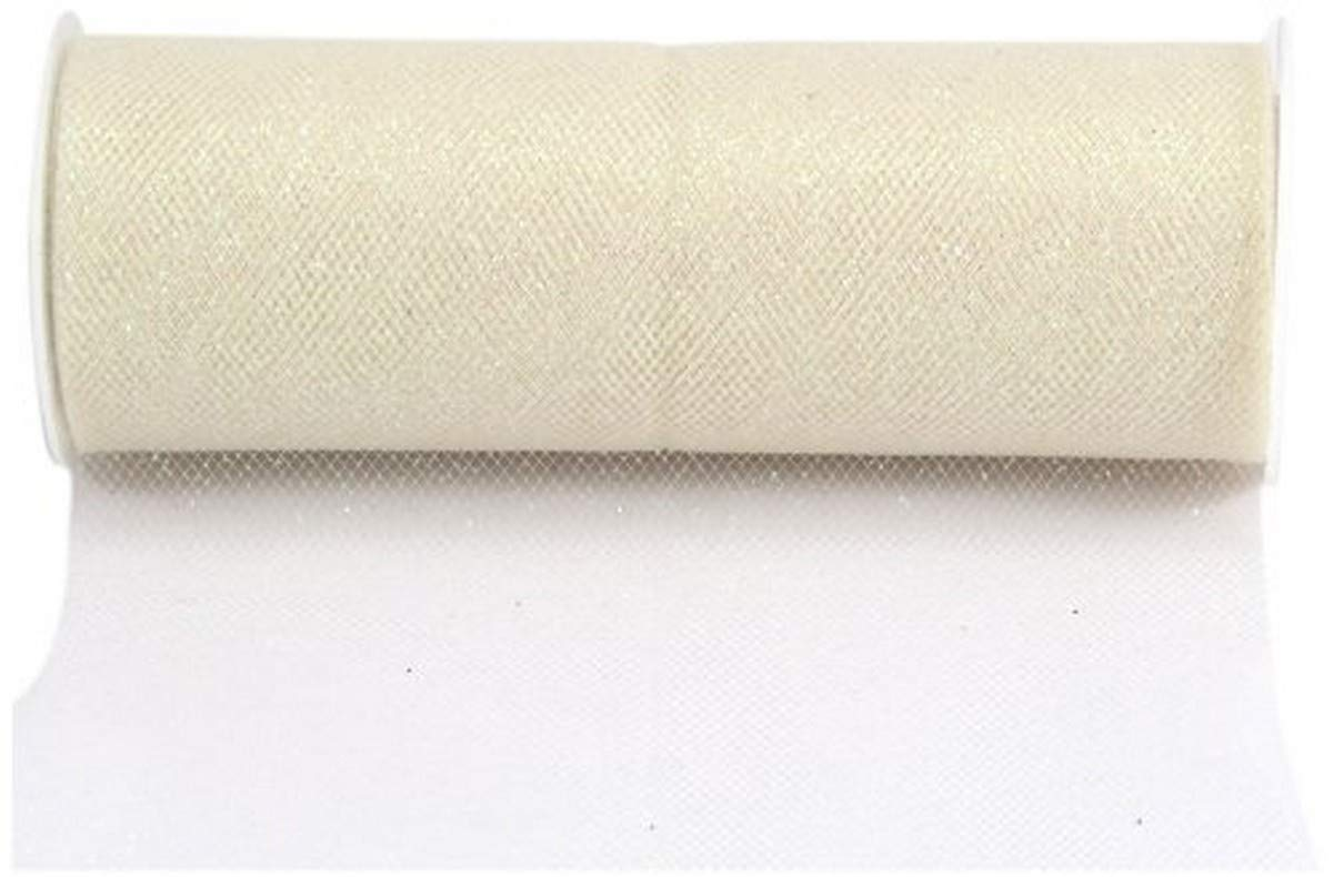 Kel-Toy Glitter Tulle Fabric, 6-Inch by 10-Yard, Ivory/Iridescent