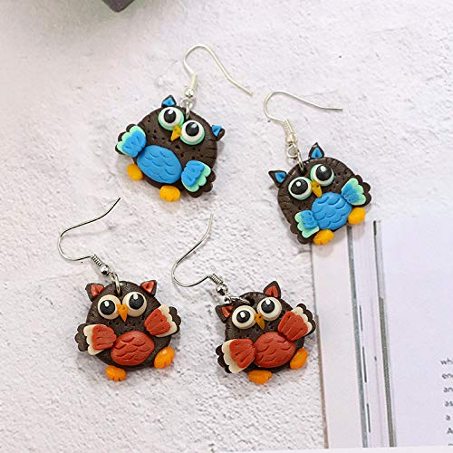 Soft Pottery Fashion Jewelry for Girls Aoruisier Owl Stud Earrings 1 Pair Blue Material