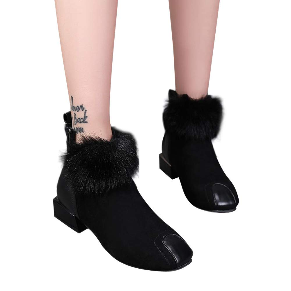 Boots For Women,HOT SALE !! Farjing Fluffy Faux Fur Shoes Martain Boots Suede Ankle Boots Square Toe Boot(US:6.5,Black )