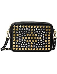 Womens Jenkin Leather Studded Crossbody Handbag Black Small