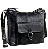 Jack Georges Voyager Hobo Bag with Front Pocket (Black)