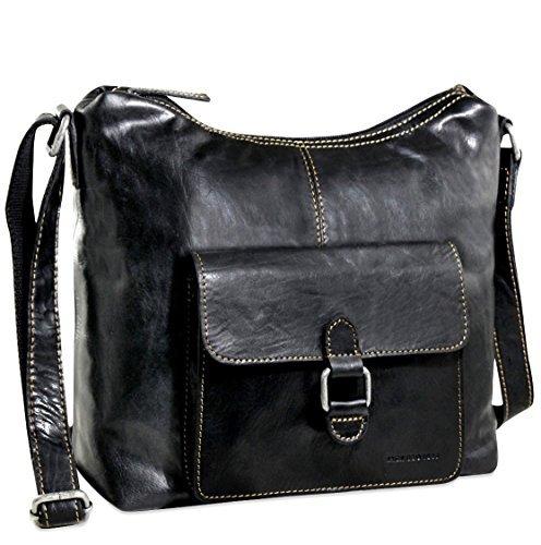 Jack Georges Voyager Hobo Bag with Front Pocket (Black) by Jack Georges