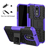 LG Q7 case,LiuShan Shockproof Heavy Duty Combo Hybrid Rugged Dual Layer Grip Cover with Kickstand for LG Q7 Smartphone (with 4in1 Packaged),Purple