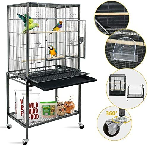 SUPER DEAL 53 59.3 63.5 Rolling Bird Cage Large Wrought Iron Cage for Cockatiel Sun Conure Parakeet Finch Budgie Lovebird Canary Medium Pet House with Rolling Stand Storage Shelf