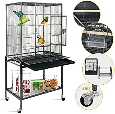 SUPER DEAL 53''/59 3''/63 5'' Rolling Bird Cage Large Wrought Iron Cage for  Cockatiel Sun Conure Parakeet Finch Budgie Lovebird Canary Medium Pet