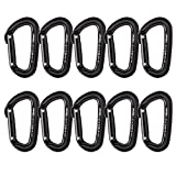 Fusion Climb Contigua Modified Straight Gate Modified D Shape Carabiner Black 10-Pack