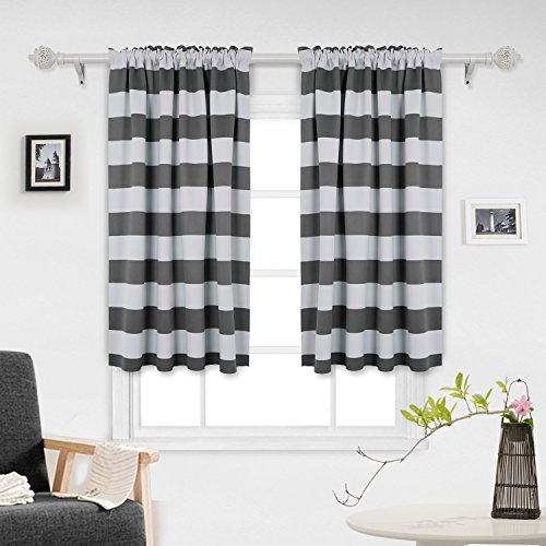 Deconovo Gray Striped Blackout Window Curtains Thermal Insulated Grey and Greyish White Striped Curtains for Bedroom 42W X 45L Gray 2 Panels