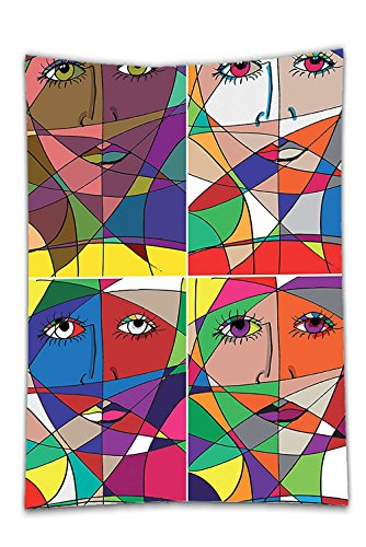Interestlee Satin drill Tablecloth?Abstract Abstract Woman Face Illustration Behind Stained Glass Human Facial Feature Dining Room Kitchen Rectangular Table Cover Home (Texas Holdem Stained Glass)