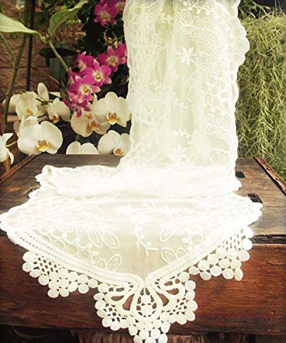 """Harvest Imports (Har-) Lace Table Runner in Ivory - 74"""" Long x 12"""" Wide"""