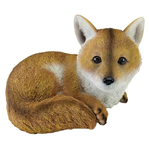 Design Toscano QM2585100 Diablo The Baby Red Fox Statue, Full Color (Baby Statues)