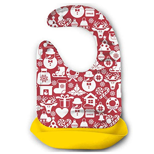 Red Christmas Snowman Baby Comfortable Mouth Bib Saliva Dripping Towel -