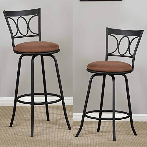 Poundex PDEX-F1483 Adjustable Swivel Barstool, Black