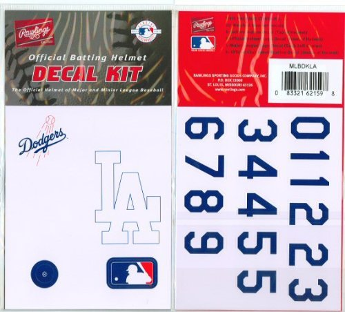 (Los Angeles Dodgers MLB Batting Helmet Decal Kit (Includes Official Team Logos Stickers, MLB Logo & Numbers for Youth Little League Players to Adult Recreation Players)