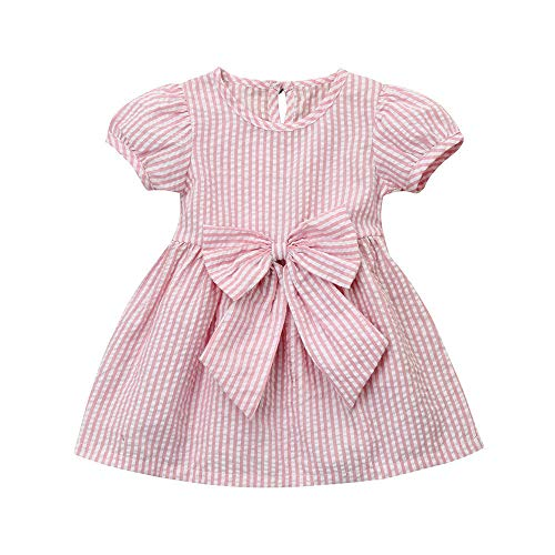 565f4db78868 YOUNGER TREE Toddler Infant Newborn Kids Baby Girls Dress Bowknot Princess  Birthday Party Striped Dress Bow