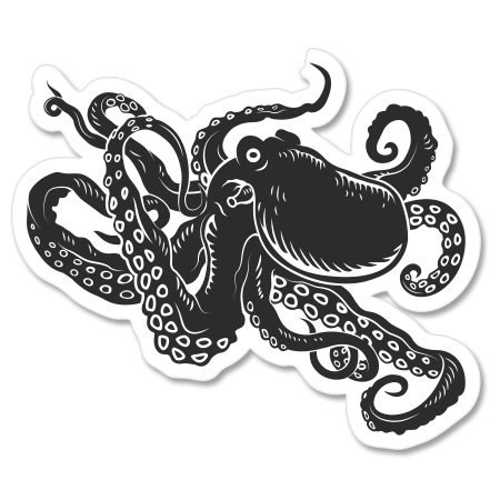 Octopus Black Vinyl Sticker - Car Window Bumper Laptop - SELECT SIZE