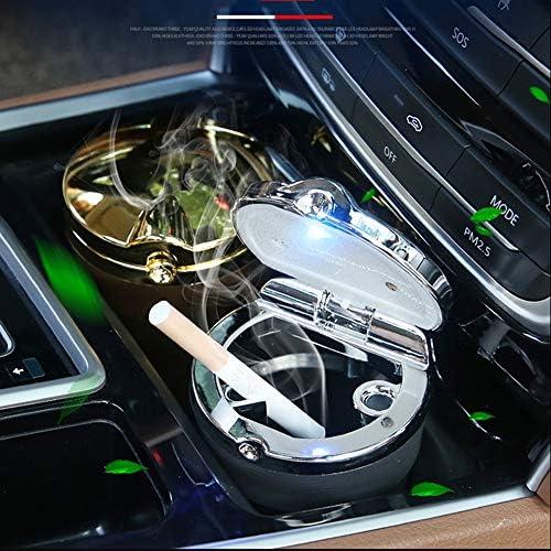 オフィスホーム自動トラベルアクセサリーのための車の灰皿、ブルーLEDライトと耐火ステンレス蓋付き2個ポータブル自動タバコの灰皿、