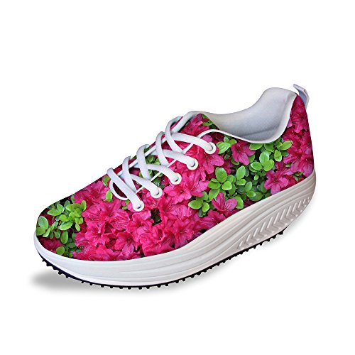 Mesh Shape Platform Flower Ups Sneakers Flower Fitness Women's HUGSIDEA Fashion 1 qxAIUw17t