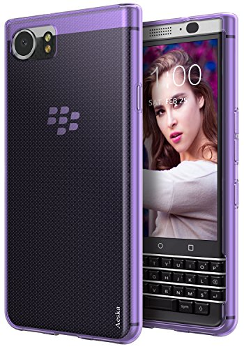 (BlackBerry KEYone Case, Aeska Ultra [Slim Thin] Flexible TPU Soft Skin Silicone Protective Case Cover for BlackBerry KEYone (Purple) )