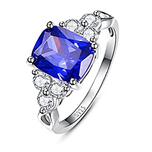 BONLAVIE Sterling Silver Cushion Cut Created Blue Tanzanite Cubic Zirconia Promise Engagement Ring Size 6