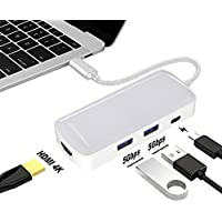 Baile USB C Hub Adapter, Multi Port Charger Dock USB Type C to HDMI/USB C/2 USB-A 3.0 Port [Pass-Through Charging] For Macbook Pro,Chromebook, Phone,Hard Flash Drive,Other USB C Laptop (White)