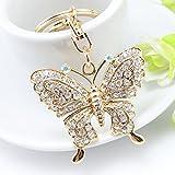 Rhinestone Crystal Butterfly Keychain Car Gold Charm Keyring Handbag Jewelry