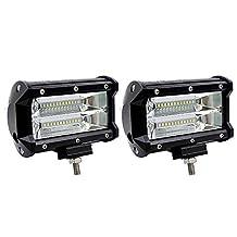 "Off Road LED Light Pods, Kobwa 2Pcs 72W 10800LM IP67 Waterproof 5"" LED Light Bar Flood Beam Fog Lights for Off Road, Heavy Duty, UTV, Truck, ATV, SUV Jeep Marine Boat Lamp"