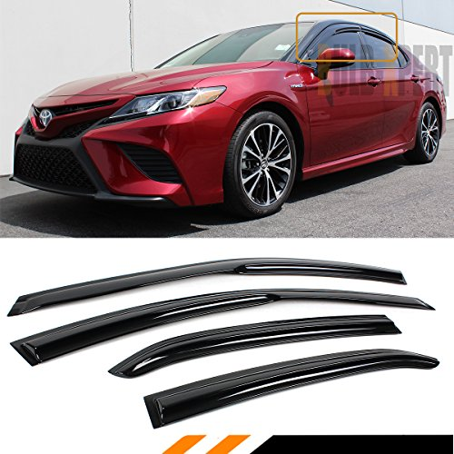 Cuztom Tuning Fits for 2018-2019 Toyota Camry L LE SE XLE XSE JDM 3D Wavy Style Window Visor Rain Guard Deflector