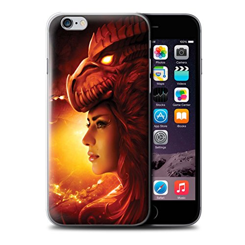 Officiel Elena Dudina Coque / Etui pour Apple iPhone 6 / Fille Rouge Design / Dragon Reptile Collection