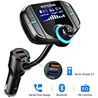 Bluetooth FM Transmitter for Car, ABOX FM Transmitter Wireless Radio Adapter Car Kit with 1.7 Display Bluetooth 4.2 Quick Charge 3.0 Support TF Card Aux Input/Output