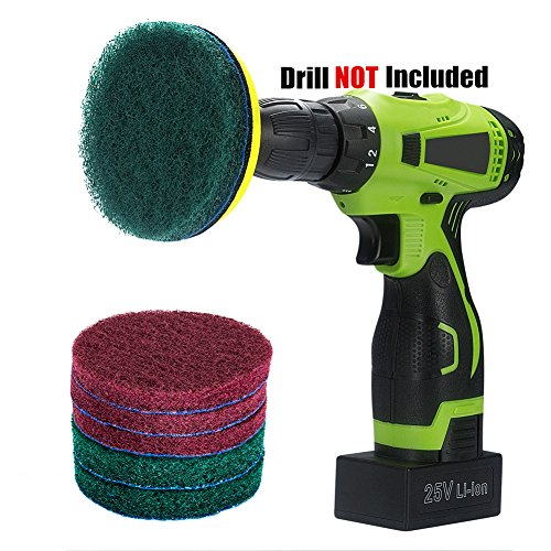 Kichwit 4 Inch Drill Power Brush Tile Scrubber Scouring Pads Cleaning Kit, Includes Velcro Attachment, 3 Non-Scratch Red Pads and 3 Stiff Green Pads, Heavy Duty Household Cleaning Tool