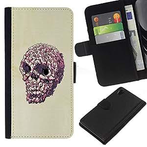// PHONE CASE GIFT // Moda Estuche Funda de Cuero Billetera Tarjeta de crédito dinero bolsa Cubierta de proteccion Caso Sony Xperia Z2 D6502 / Pink Pop Art Skull /
