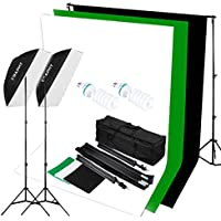 CRAPHY 125W 5500K Photography Studio Video Lights Lighting Kit (20*28 Softbox + 3 Backdrops (White Black Green) + Background Support Stand (10x6.5ft)