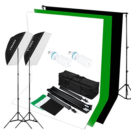 CRAPHY 125W 5500K Photography Studio Video Lights Lighting Kit (20*28″ Softbox + 3 Backdrops (White Black Green) + Background Support Stand (10×6.5ft)