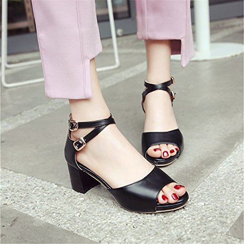 de primavera Pink noche Blanco toe Chunky Negro polipiel ZHZNVX sandalias Boda para beige rosa otoño talón Zapatos Comfort peep mujer Iq4S5