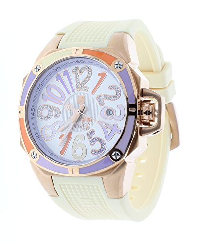 Technosport TS-200-SPLASH4 Womens Cream Watch Swarovski Multicolor Colorful Dial Markers Rose-Tone Case